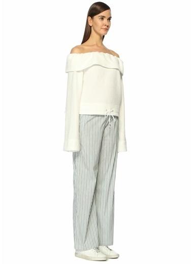 Sunny Bol Paça Çizgili Pantolon Beyaz